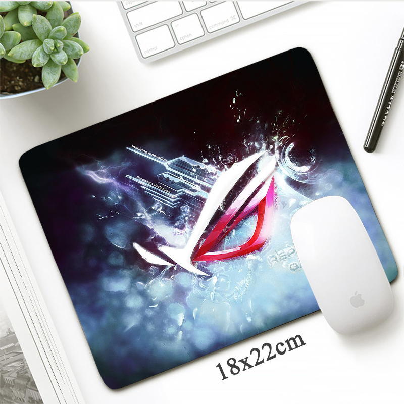 Custom Republic Of Gamers 18x22 Small Mouse Pad Fashion ASUS Gaming Mousepad Gamer Locking Edge Non-Skid Office Laptop Desk Mat