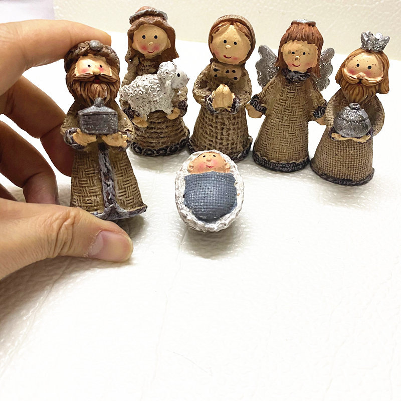 Lower Price with 6pcs Set Religious Figures Of Bouyei Arab Manger Group Resin Doll Handicraft Ornament Sand Ware