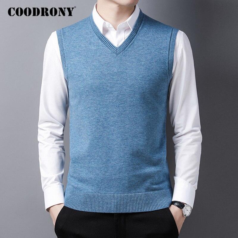 COODRONY marque chandail hommes automne hiver doux chaud gilet hommes vêtements 2020 nouveauté décontracté col en v sans manches Pull Homme C1165