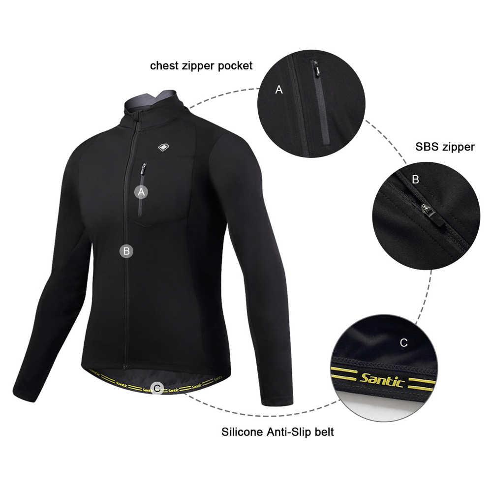 Santic Pria Musim Gugur Musim Dingin Bersepeda Jaket Windproof MTB Jaket Tetap Hangat Bernapas dan Nyaman Warna Hitam atau Merah Pakaian KC6104