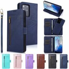 Магнитный чехол бумажник на молнии для Samsung S20 S20 Plus S20 Ultra Note 10 10 + 9 8 S10 S9 S8 S7 Edge, съемный кожаный чехол книжка