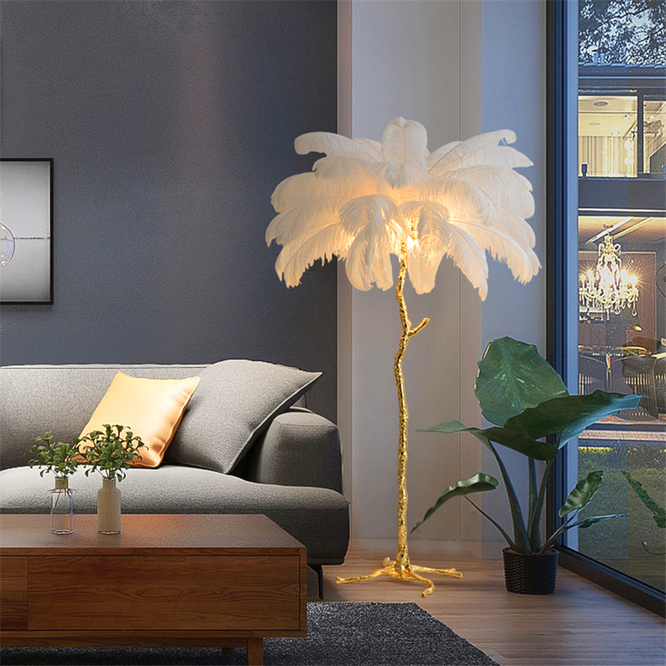 Nórdico Avestruz Pena Sala de estar Piso Lâmpada Suporte Da Lâmpada Do Quarto Moderno Lâmpadas de Iluminação Interior Luzes Decorativas do Piso Em Pé