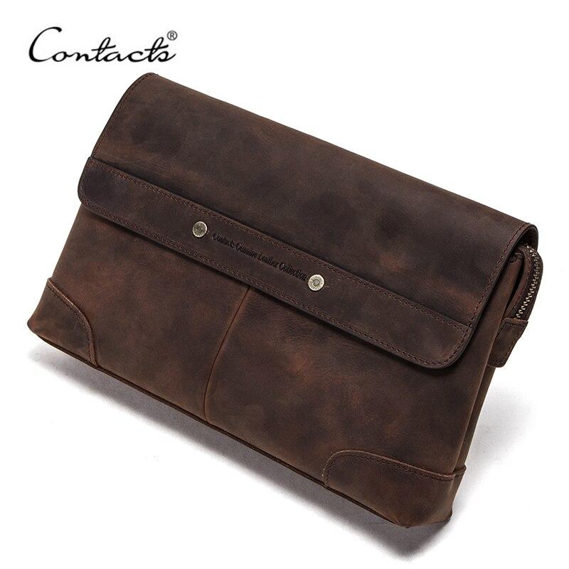 CONTACT'S Travel Men Clutch Bags Crazy Horse Leather Long Wallet Men Large Capacity Handy Bag Phone Pocket Male Purse Carteiras