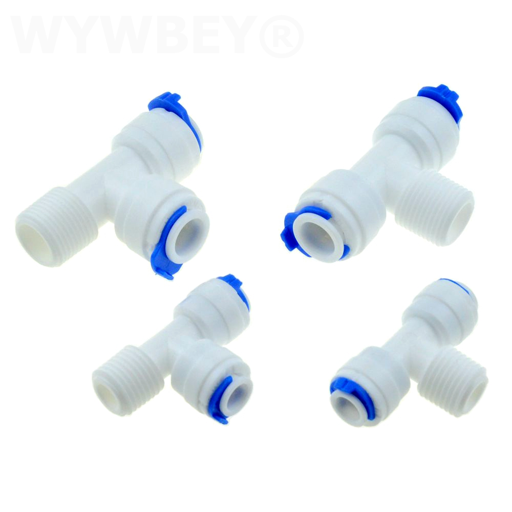 Reverse Osmosis Quick Pipe Fitting T Shape Tee 1/4 3/8 Hose Connect 1/4 3/8 BSP Male RO Water Plastic Coupling Connector Adapter