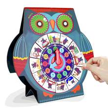 UNU Owl Shape Clock Calendar Cognitive Board Magnetic Puzzles Education Toy Intellectual Jigsaw Board(China)