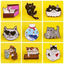 Cartoon Cat Enamel Pin Brooch Pins Cat In Box Read Books Lapel Pin Coat Badge For Clothes Fashion Jewelry For Kids Women Gift
