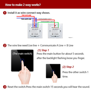 Image 5 - EU  2 Way Stair Switch Wall Light Controler Home Automation Touch Switch  Waterproof and Fireproof 1 2 3 Gang Single Live line