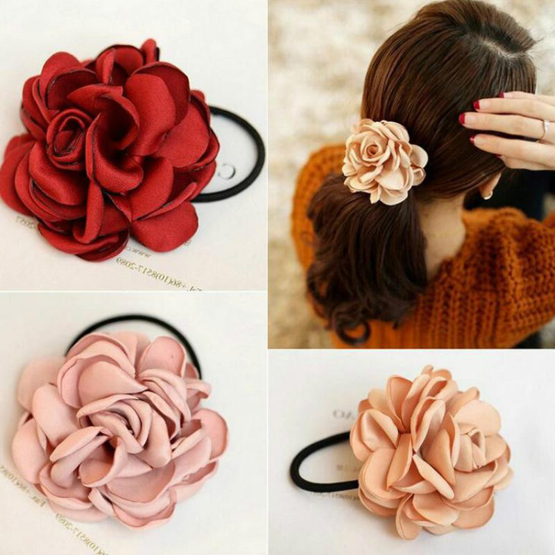 Fashion Women Rose Elastic Hair Bands Big Flower Ponytail Holder Imitation Flower Hair Rope Charms Rubber Hair Accessories
