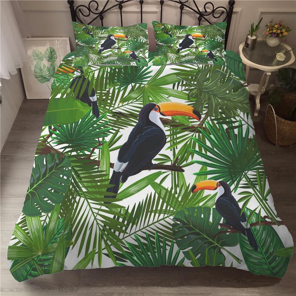 MEI Dream Toucan 3D Printed Single Bed Set Forest Animal Double Bed Comforters Duvet Covet Set