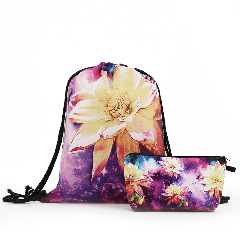 Backpack FLOWER Oil Painting Drawstring Christmas Cosmetic Suit Drawstring Fashion Printing Travel Men Bags Women's Shoulder New