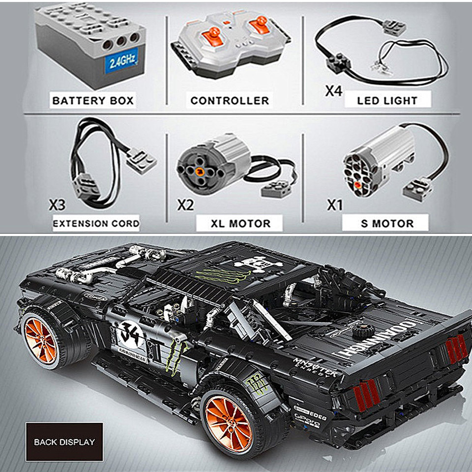 RC Ford Mustang Hoonicorn RTR V2 Technic Super Racing Car With Motor 20102 MOC-22970 Building Blocks Bricks With LED Light Toys