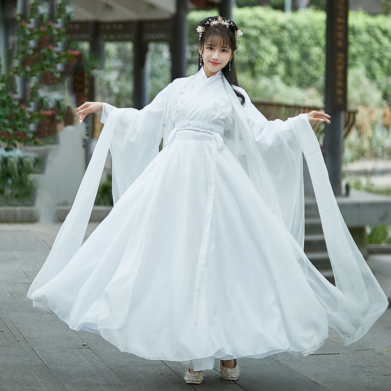 Elegant White Cosplay Ancient Princess Fairy Costume Chinese Traditional Hanfu Dress For Women Folk Dance Stage  Performance