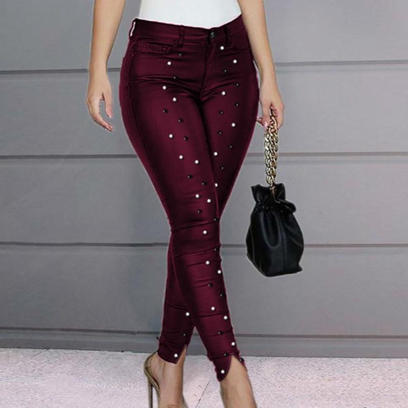 High Waist Beaded Slit Pants Women Skinny Casual Pencil Pants