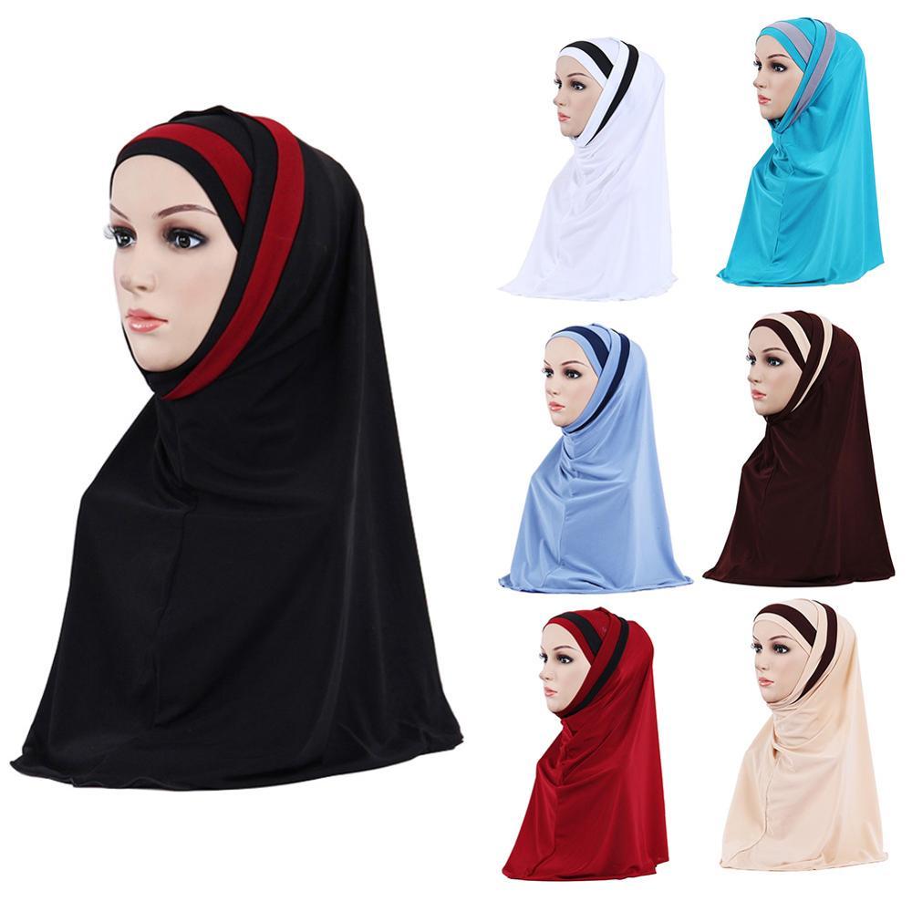 Women Muslim Hijab Islamic Jersey Turban Fashion Double Color Splicing Scarf Hijab Head Underscarf Cap Instant Head Scarf