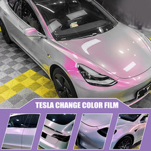 for Tesla Model 3 Y Car Body Color Change Film Two-Color Volcanic Gray Color Change Vinyl Film Color Changing Stickers