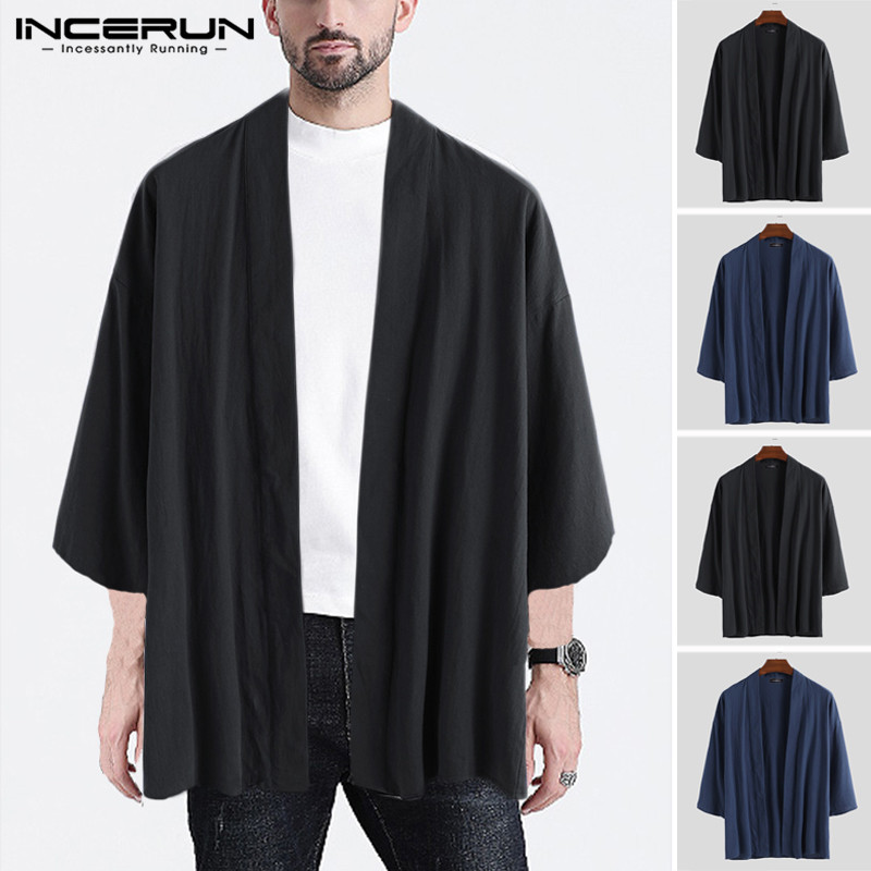 INCERUN Chinese Style Men Outerwear Vintage Cotton 3/4 Sleeve Trench Solid Kung-fu Jackets Men Coats Streetwear Cardigan 2019