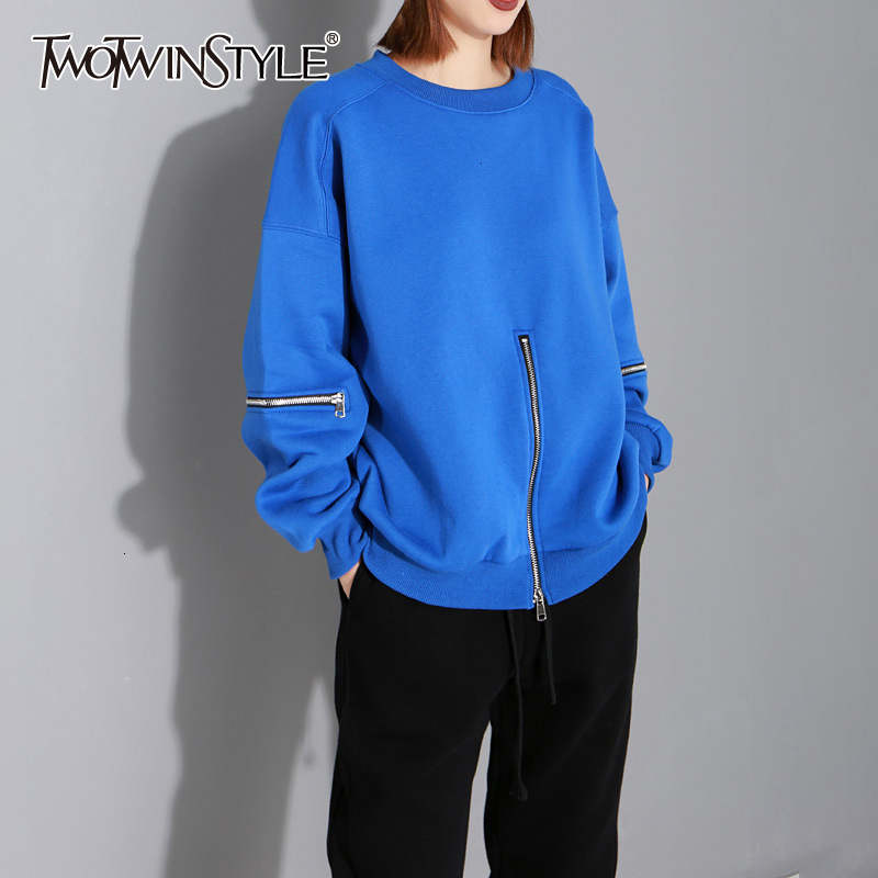 TWOTWINSTYLE Patchwork Zippers Sweatshirts For Female O Neck Lantern Long Sleeve Autumn Plush Sweatshirt Women Clothing 2019 New