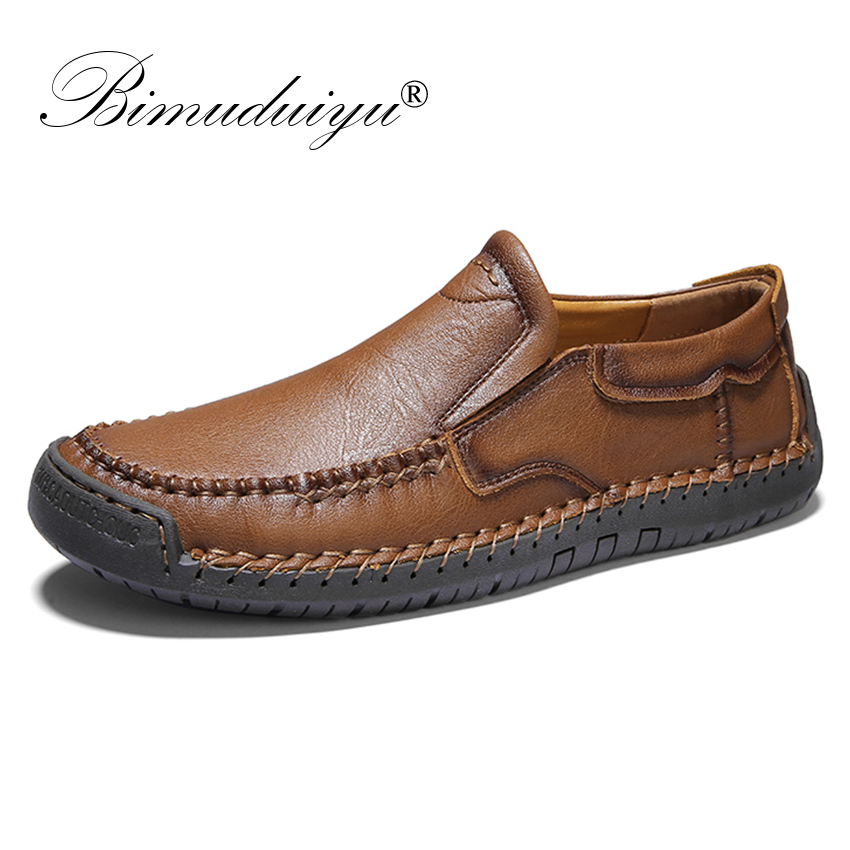 BIMUDUIYU Handmade Men's Genuine Leather Breathable Loafers Soft Casual Shoes Moccasin Shoes High Quality Slip On Footwear Male