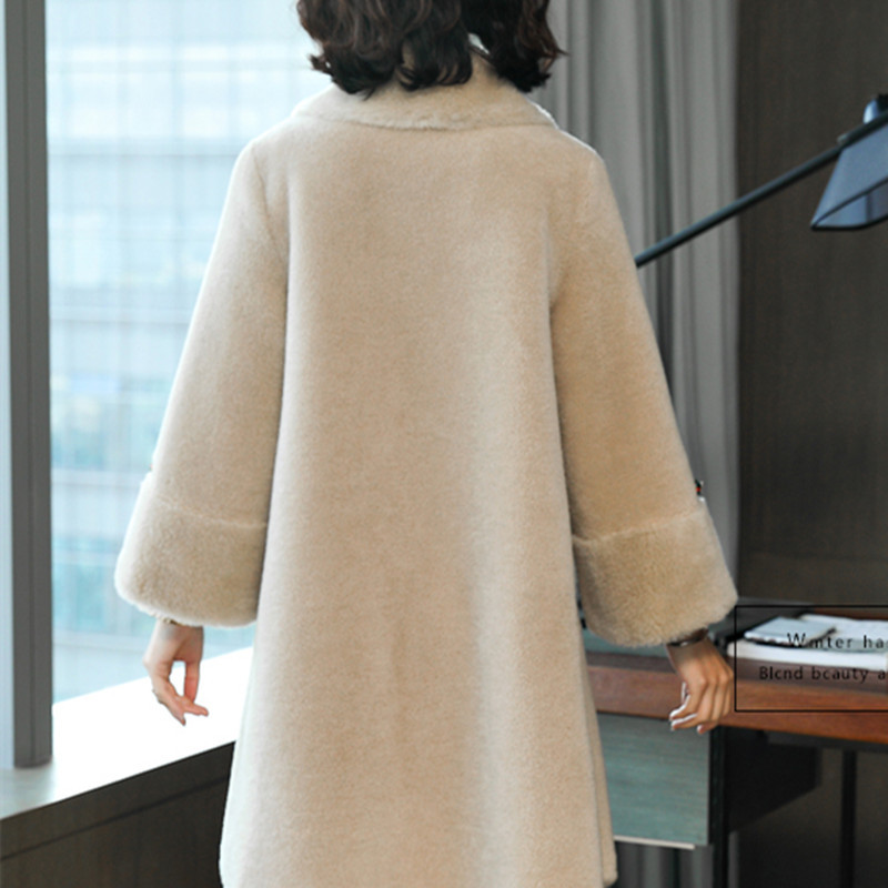 Real Sheep Shearing Jackets Women Natural Wool Coat Female Long Autumn Winter Jacket Korean Fashion Clothes 2020 LWL1356