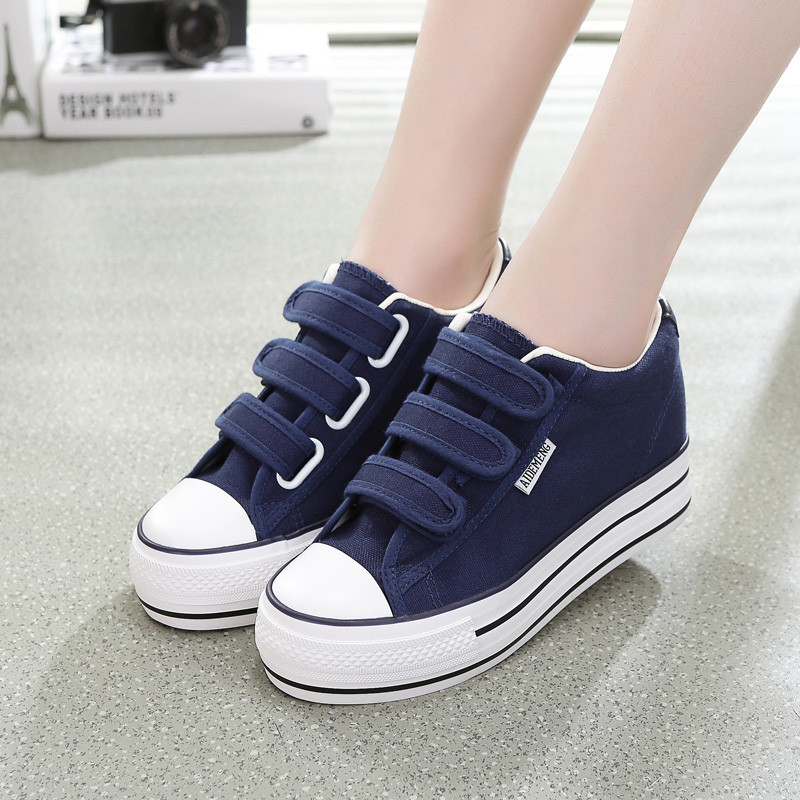 Female Canvas High Heels Sneakers Woman Height Increasing Sneakers Wedges Platform Shoes Woman Casual Vulcanized Shoes 2019