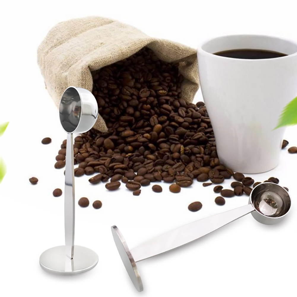 2-in-1 Stainless Steel Coffee Scoop With Holder Mulit-function Coffee Spoon Powder Hammer Measuring Tamping Scoop Tool