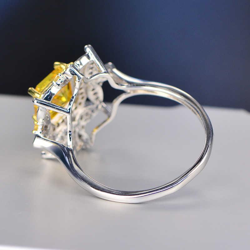 Lujo 925 anillos plata citrino Topacio blanco boda compromiso cóctel para mujeres AAAA anillo de circonio tipo joyería al por mayor