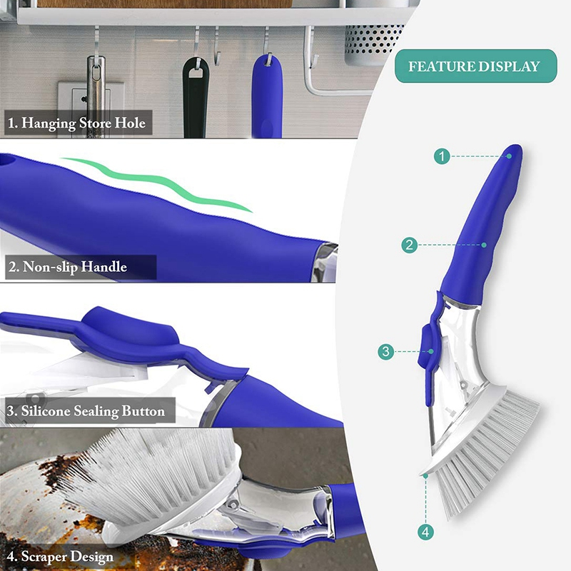 Soap Dispensing Dish Brush  Kitchen Dish Cleaning Brush Pot Scrubber Cleaner with Non Slip Handle  Extra 2 Sponge Brush Heads (B Cleaning Brushes     - title=