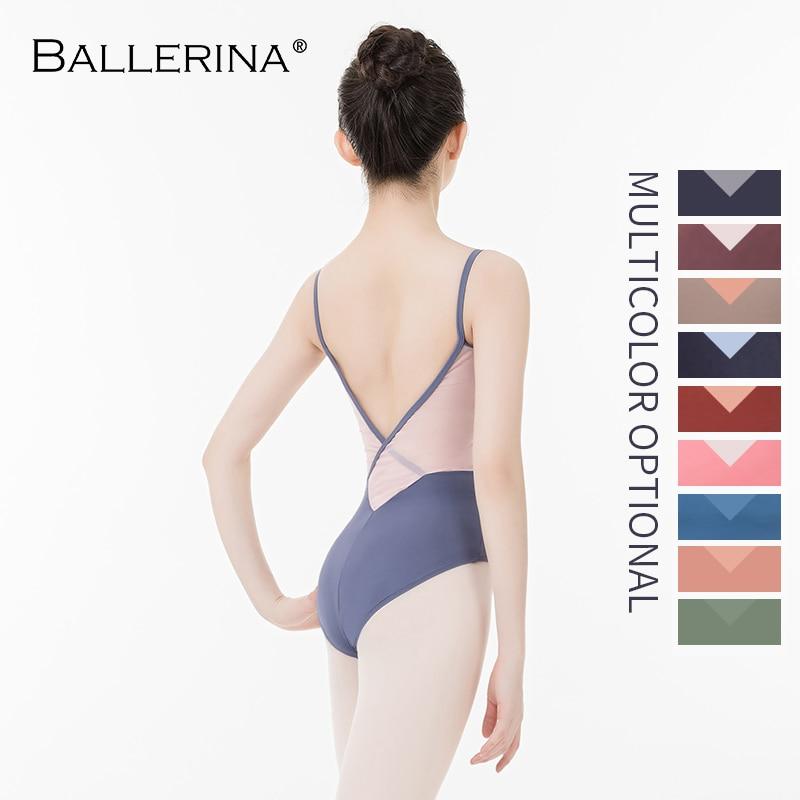 Ballerina Ballet Leotard Back Cross Women Girl Adult Gymnastics Mesh Sling Leotard Bodysuit Aerialist Dance Clothes  5583
