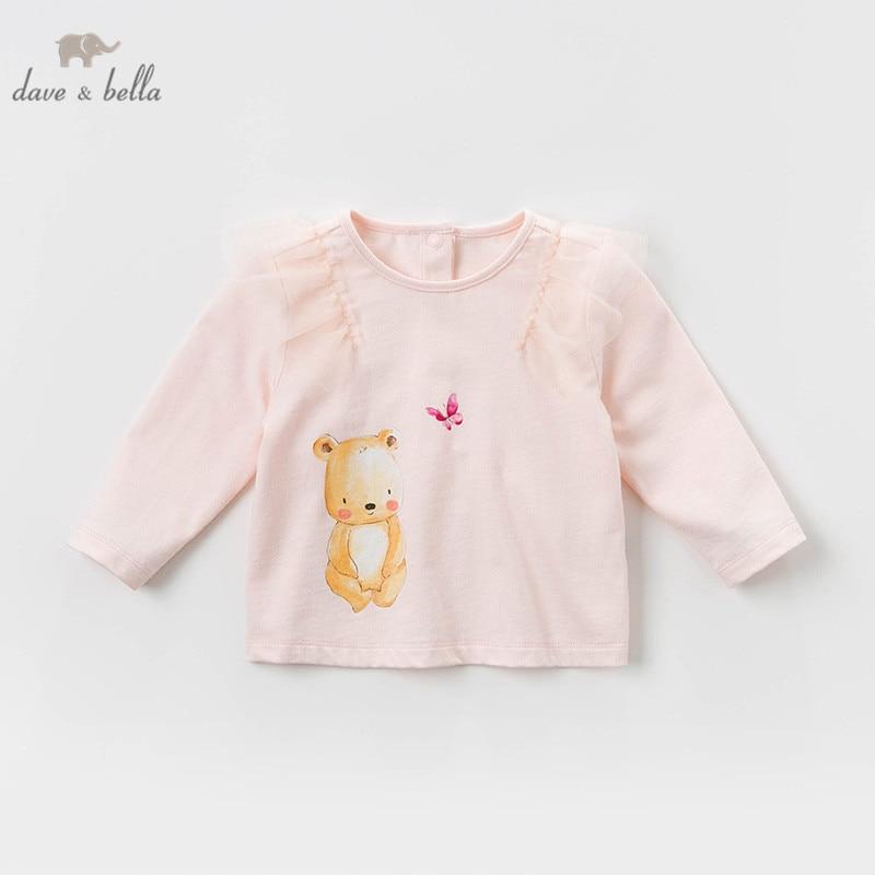 DBM12789 Dave Bella Spring Baby Girls Cartoon Lace T-shirt Children Long Sleeve Tops Girls Cute Pullover Kids Fashion Tees