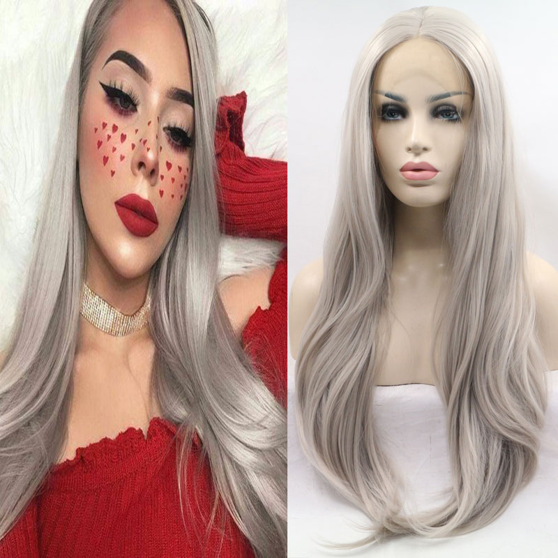 Bombshell Grey Synthetic Lace Lace Wig Natural Straight Hairline 13*3 Non-glue Heat Resistant Fiber Daily Fashion Wig