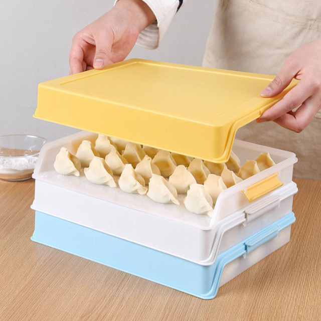 Dumpling Boxes Storage Tray Food Container Box For Keep Fresh Refrigerator Frozen Dumplings Storage Plastic Boxes