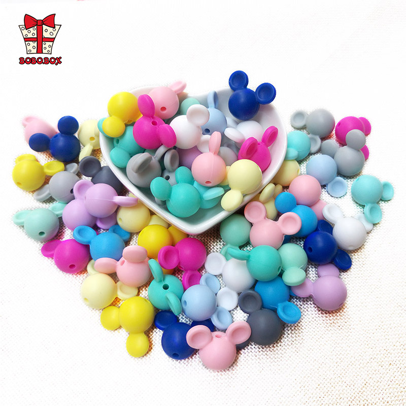 BOBO.BOX 50pcs Cartoon Mickey Loose Silicone Bead BPA Free Silicone Beads Teether DIY Animal Baby Teething Beads Food Grade Toys