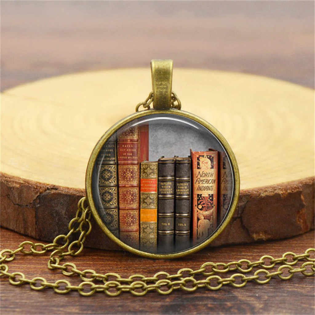 Ketting Vrouwen Ketting Цепочка Accessoires Vintage Bibliotheek En Boeken Tijd Gem Mode Zilveren Ketting Hanger Sieraden Gratis Schip
