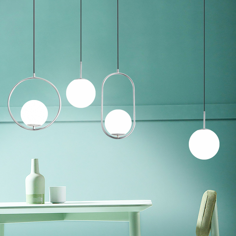 lowest price DX Modern Living room Bedroom Minimalist Restaurant Pendant Light Nordic Clothing Decoration Glass Ball Pendant Lamp