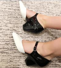 Pumps High Heels Mixed Color Leather Shoes PU27