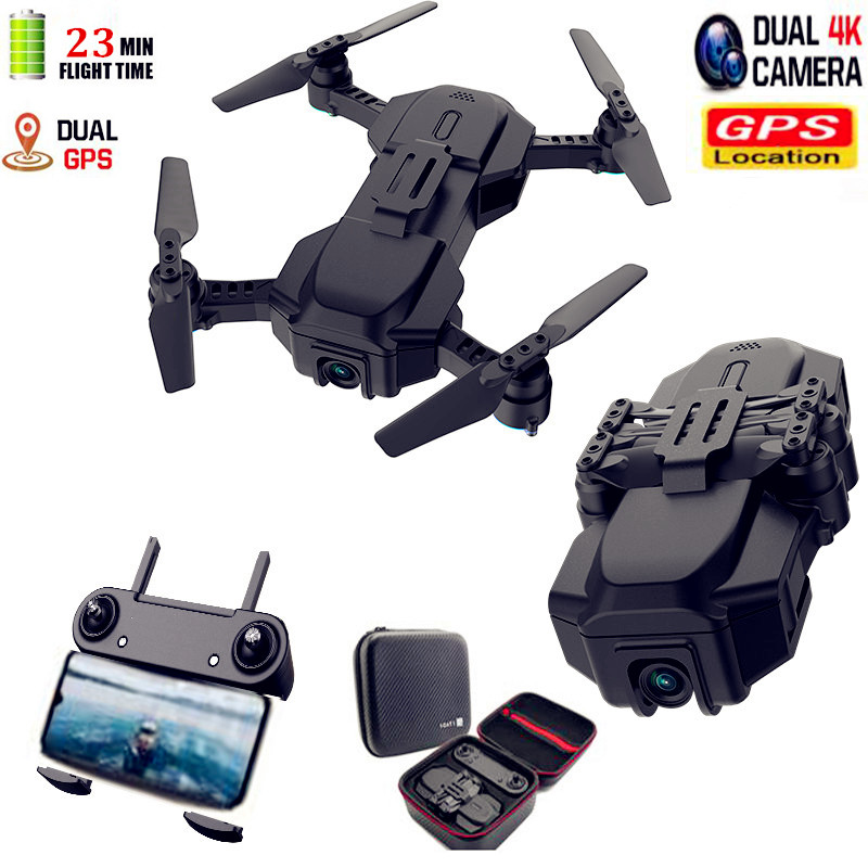Best Double GPS Drone With 4K Dual Adjustable Camera WIFI FPV RC Quadcopter Optical Flow Foldable Smart Follow me Drone VS SG907