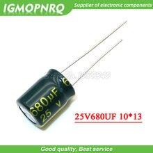 20 piezas 25V680UF 10X13 680UF 25V 10*13 condensador electrolítico de aluminio
