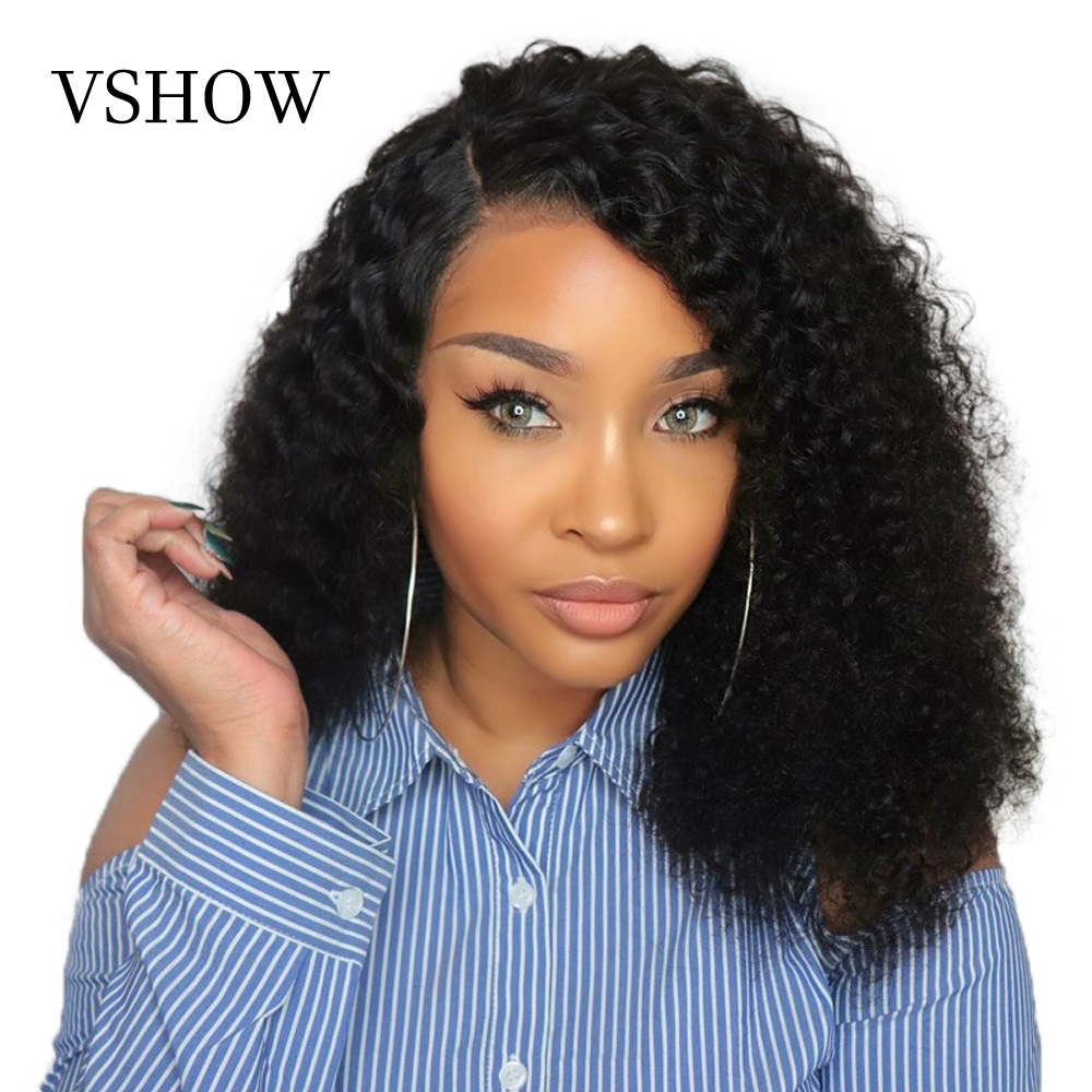 VSHOW 13x4 Mongolian Kinky Curly Lace Front Wigs With Baby Hair 150% Density 360 Remy Lace Frontal Human Hair Wigs