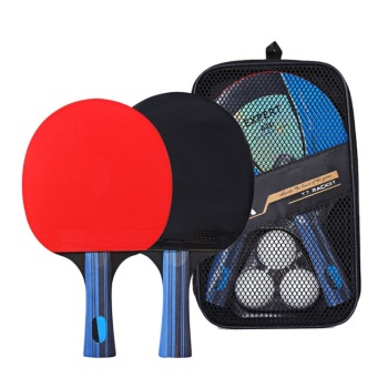 Table Tennis Racket Double Side Pimples-in Rubber Wooden Bottom Ping-pong Bats Racquet Sports Accessories With Balls Bag 1