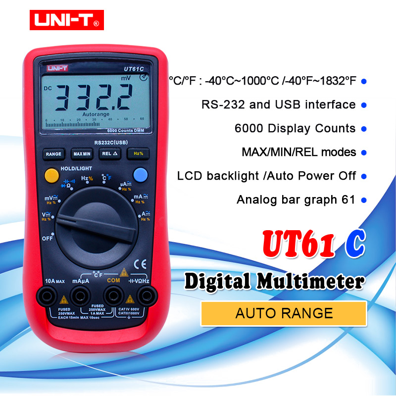 UNI T UT61C Digital Multimeter AC DC voltage resistance Capacitance temperature multitester Diode Continunity buzzer tester-in Multimeters from Tools    1