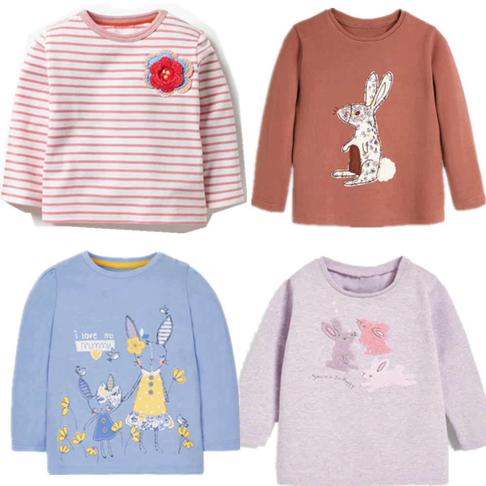 Free Shipping Brand 2020 Long Sleeve Spring T Shirt For Baby Kids Children Girls Cartoon Rabbit  T-shirts Tee Tops Clothes