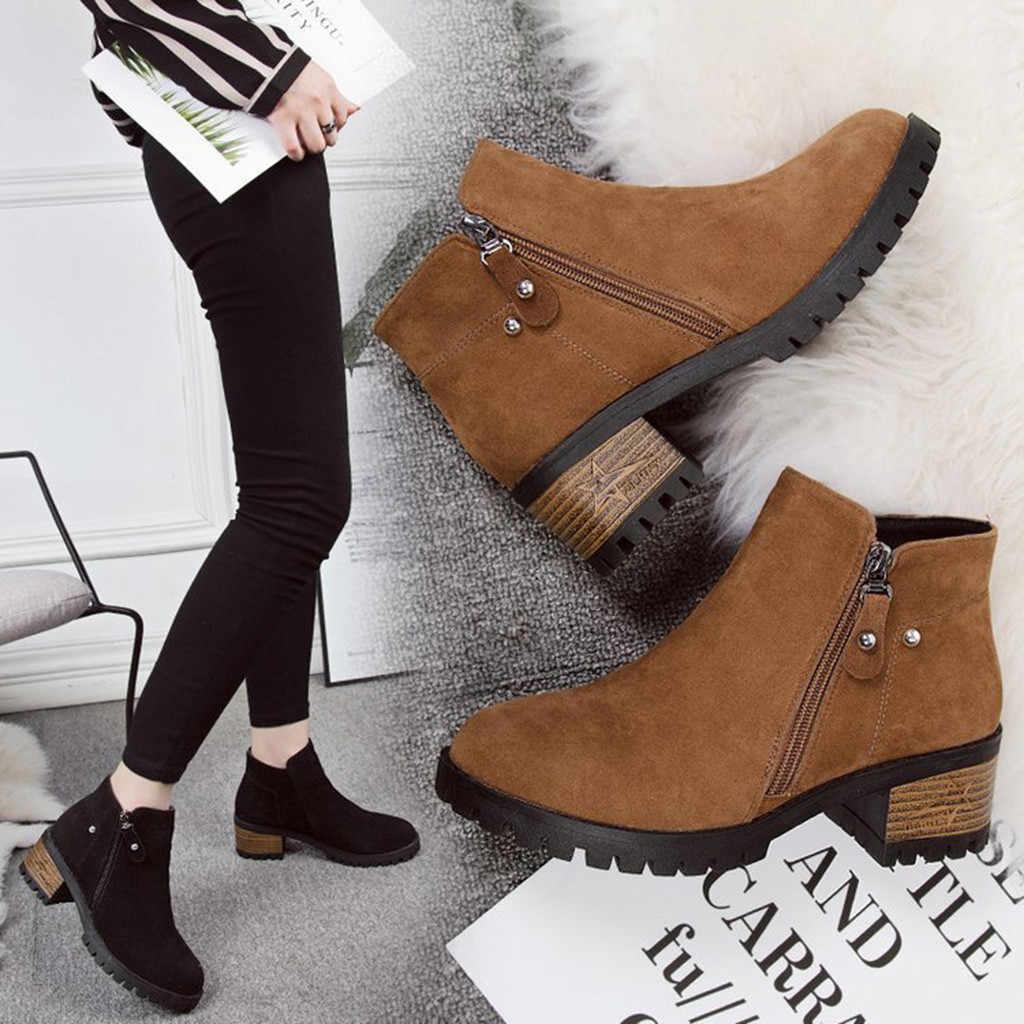 Tıknaz topuklu Vintage kadın botları moda saf renk yuvarlak ayak fermuar çizmeler ile kalın fırçalama avrupa bayanlar kauçuk akın ayakkabı