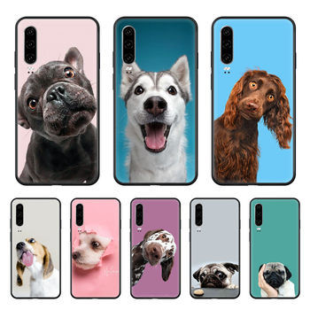 Dog Adorable Animal Pet Phone case For Huawei P 30 10 20 40 Lite Smart Z Pro 2019 black Etui 3D coque soft waterproof fashion image