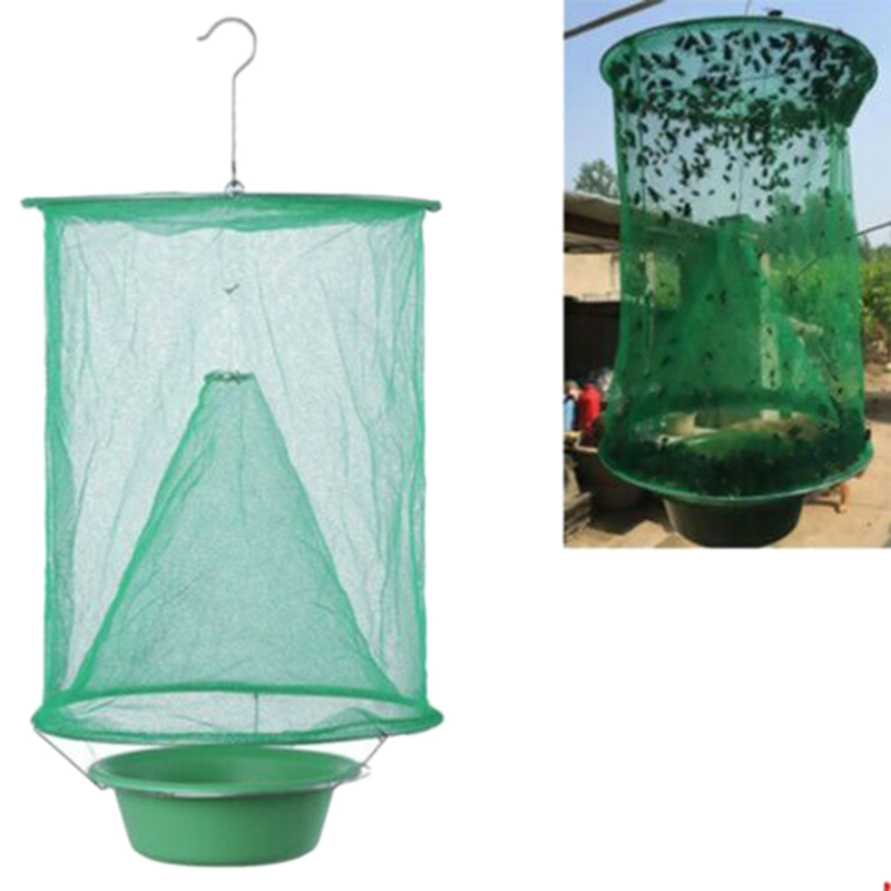Folding Fly Cage Reusable Flycatcher Hanging Ranch Trap Catcher Most Effective Powerful Capture Suspension
