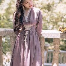 Новые модные женские осенние ретро платья женские платья с v-образным вырезом