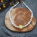 Женское Ожерелье-чокер Smile, ювелирное изделие из натурального пресноводного жемчуга, уникальный аксессуар