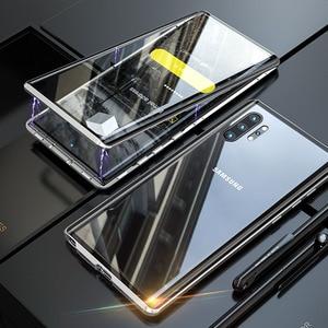 Image 2 - מגנטי כפול צד מזג זכוכית מקרה עבור סמסונג גלקסי הערה 10 פרו בתוספת מקרה עמיד הלם קשה שריון מתכת פגוש כיסוי s20