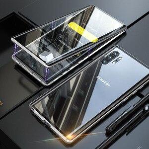 Image 2 - Magnetyczny dwustronnie szkło hartowane etui do Samsung Galaxy Note 10 Pro Plus Case odporny na wstrząsy twardy pancerz metalowy zderzak S20