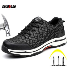 Mens Night Safety Work Steel Toe Shoes Reflective Light Working Boots Running Breathable Weight Comfortable