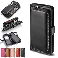 Zipper Wallet eather Case For iPhone se2 se 2 2020 11 Pro Max Xr X flip cover case on iphone xs max 7 8 6 6s plus Coque Lanyard